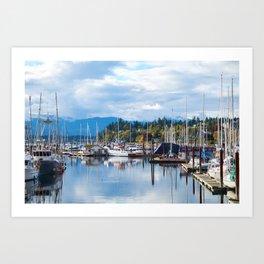 Fall harbor Art Print