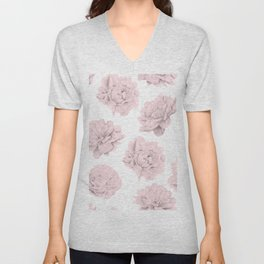 Simply Roses in Pink Flamingo Pink on White Unisex V-Neck