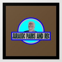 parks and rec Art Prints featuring Jurassic Parks And Rec by anthonykun
