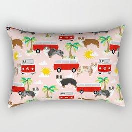 Australian Shepherd dog breed beach tropical summer dog lover gifts Rectangular Pillow