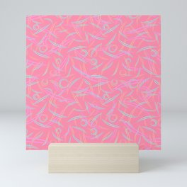 Pink strict abstraction of rounded pastel and delicate triangles and smooth lines. Mini Art Print