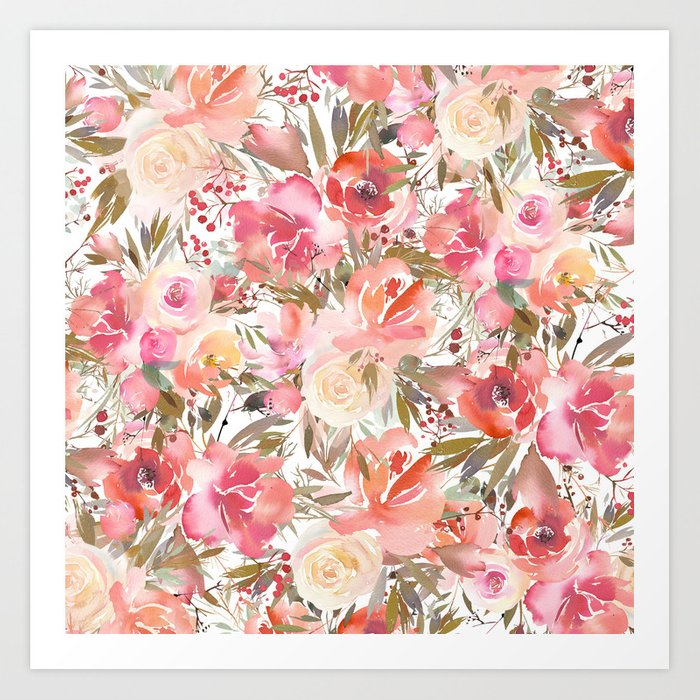 Blush Pink Coral White Watercolor Hand Painted Roses Flowers Art