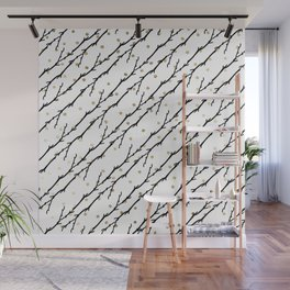 White faux gold polka dots black watercolor tree branch Wall Mural