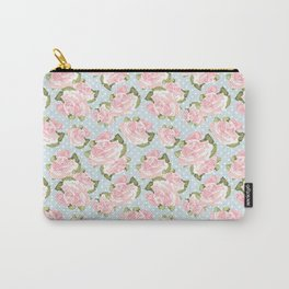 Pink Roses on Blue Polka Dots Carry-All Pouch