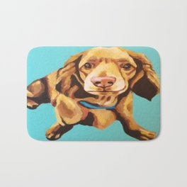 Miniature Long Haired Dachshund Painting on Blue Turquoise  Bath Mat