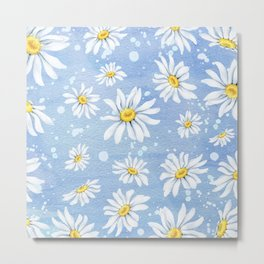 Spring Daisies On Sky Blue Watercolour Metal Print