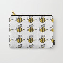 Hand drawn black yellow stripes cute honey bee illustration Carry-All Pouch