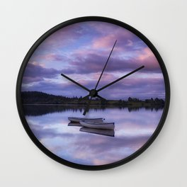 Purple Boats Wall Clock