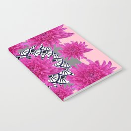 GREY ART DECO FUCHSIA CHRYSANTHEMUM FLORAL Notebook