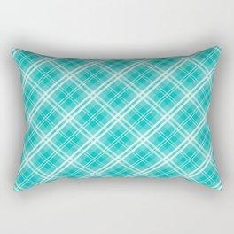 Aqua Blue & White Diagonal Plaid Scottish Clan Rectangular Pillow