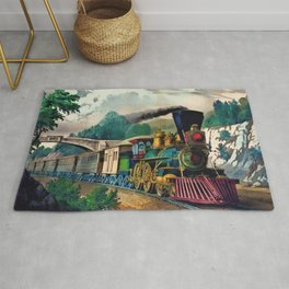 1870 Currier & Ives Steam Locomotive - The Express Train Lithograph Rug