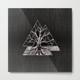 Valknut Symbol and Tree of life  -Yggdrasil Metal Print