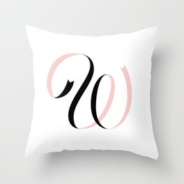 W Ribbon Throw Pillow