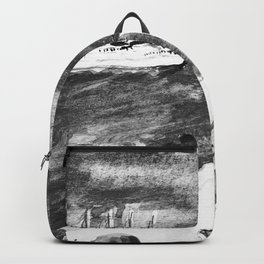 Santorini Landscape Greece Black and White Watercolor Painting Backpack