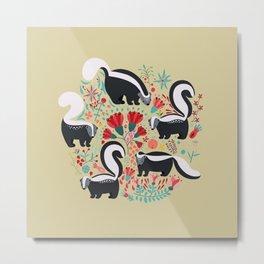 Cute Gang of Skunks Playing in the Garden Metal Print