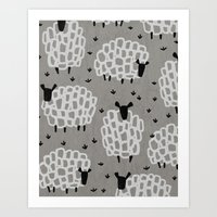 sheep Art Prints featuring sheep by frameless