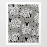 sheep Art Prints featuring sheep by frameless