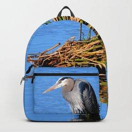 blue heron reflection Backpack