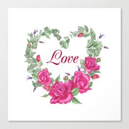 Floral wreath with rose and leaves in heart form Canvas Print