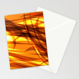 Saturated gold and smooth sparkling lines of metal ribbons on the theme of space and abstraction. Stationery Cards