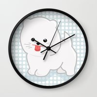 pomeranian Wall Clocks featuring White Pomeranian by Pati Designs & Photography