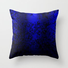 Vibrant blue abstract floral fantasy on black Throw Pillow