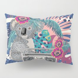 Grey koala with boombox and tropical leaves Pillow Sham