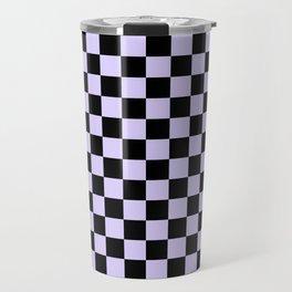 Black and Pale Lavender Violet Checkerboard Travel Mug