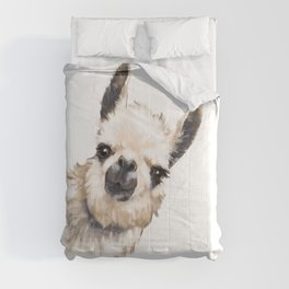 Sneaky Llama White Comforters