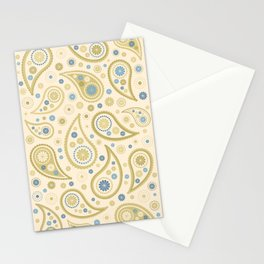 Paisley Funky Design Cream Golds Blues Stationery Cards
