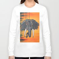 dumbo Long Sleeve T-shirts featuring Not so Dumbo (Elephant) by Kai Monster