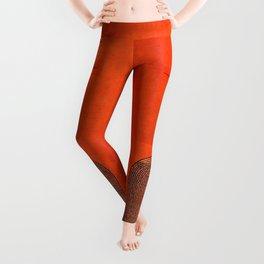 N34 - Orange Traditional Bohemian Moroccan Artwork Leggings