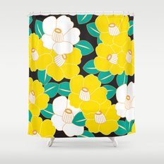 Japanese Style Camellia - Yellow and Black Shower Curtain