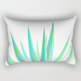 Tropical Allure - Green & Grey on White Rectangular Pillow