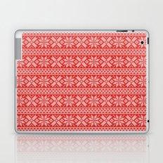 Red and White Snowflake Sweater Knitting Pattern Laptop & iPad Skin
