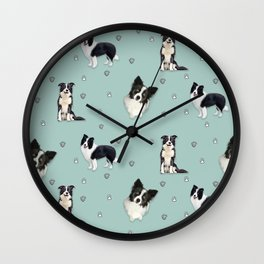 collie pattern blue painting  Wall Clock