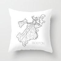 boston Throw Pillows featuring Boston by linnydrez