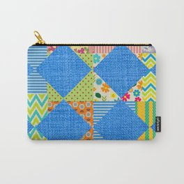 Jean and colorful patchwork print Carry-All Pouch