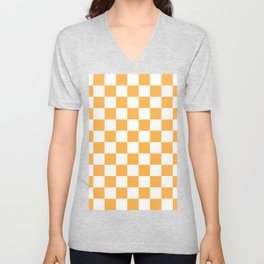 Checkered - White and Pastel Orange Unisex V-Neck
