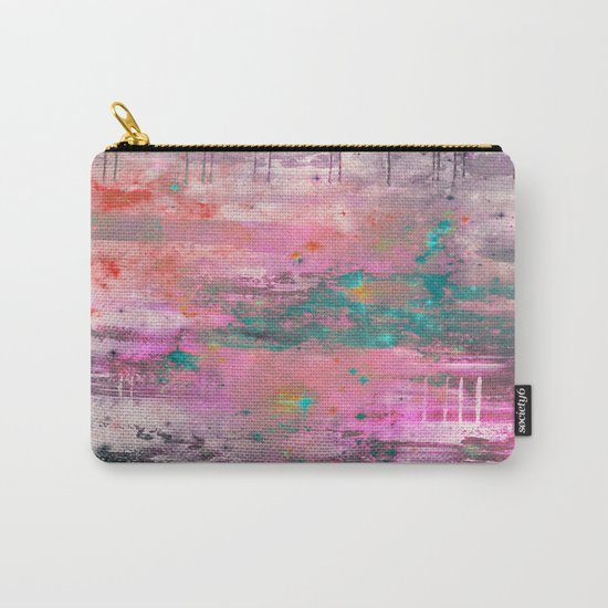 Mystical! - Abstract, pink, purple, red, blue, black and white painting Carry-All Pouch