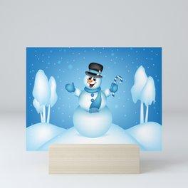 Snowman Winter Scene - Blue Mini Art Print