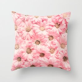 Lovely Pink Daisies Throw Pillow