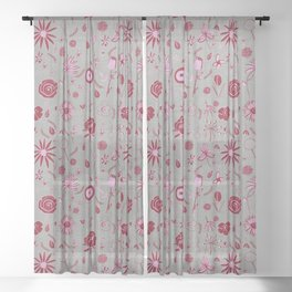 Pink and grey floral with wild roses Sheer Curtain
