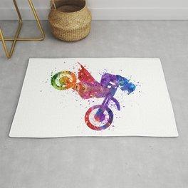 Motocross Boy Colorful Watercolor Gift Motorcycle Art Rug