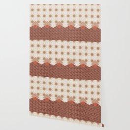 Terracotta Diamond Mandala and Graphic Weave Tile Wallpaper
