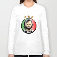 pirlo Long Sleeve T-shirts featuring Maestro  by Miguel Angel Illustrations