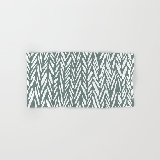 Boho chevron herringbone pattern - moss green and white by whathappened