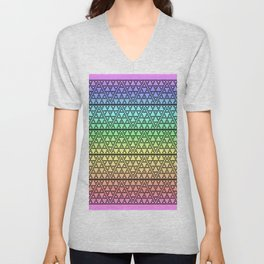 Triangles in Triangles on Rainbow Unisex V-Neck