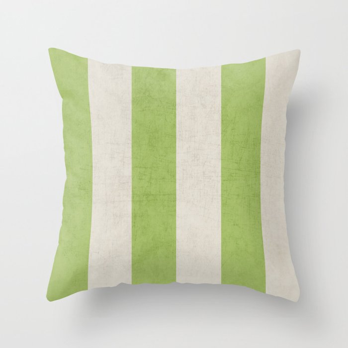 vintage green stripes Throw Pillow