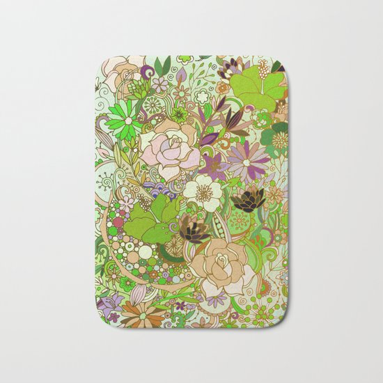 Detailed summer floral pattern, green Bath Mat